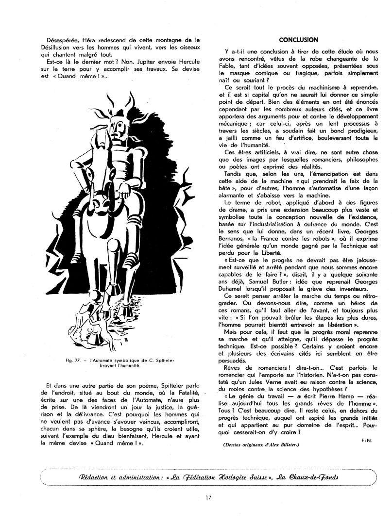 Les automates et les œuvres d'imagination XII, par Alfred Chapuis (dessins originaux d'Alex Billeter) in La Fédération horlogère suisse n°6 de décembre 1947
