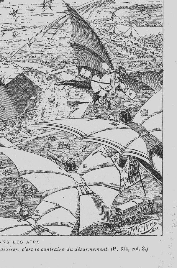 C. de Montguilhem, « La guerre dans les airs », in Journal des Voyages n°98, 16 octobre 1898. Illustration de Arth. (Arthur) Thiele.