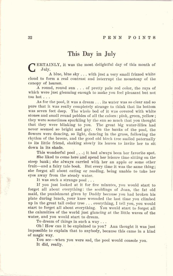 "Marie Clemenceau ""This Day in July"" in Penn Points n°2, Vol. XXIV, de juin 1949."