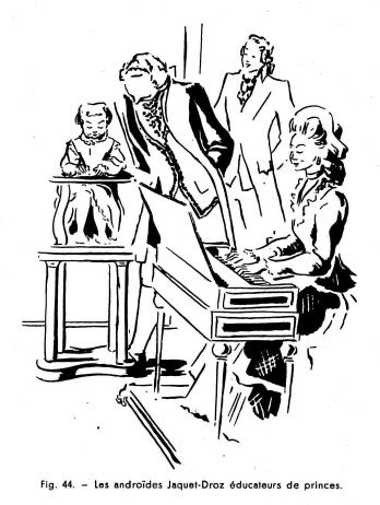 Les automates et les œuvres d'imagination VIII, par Alfred Chapuis (dessins originaux d'Alex Billeter) in La Fédération horlogère suisse n°2 de mai 1947