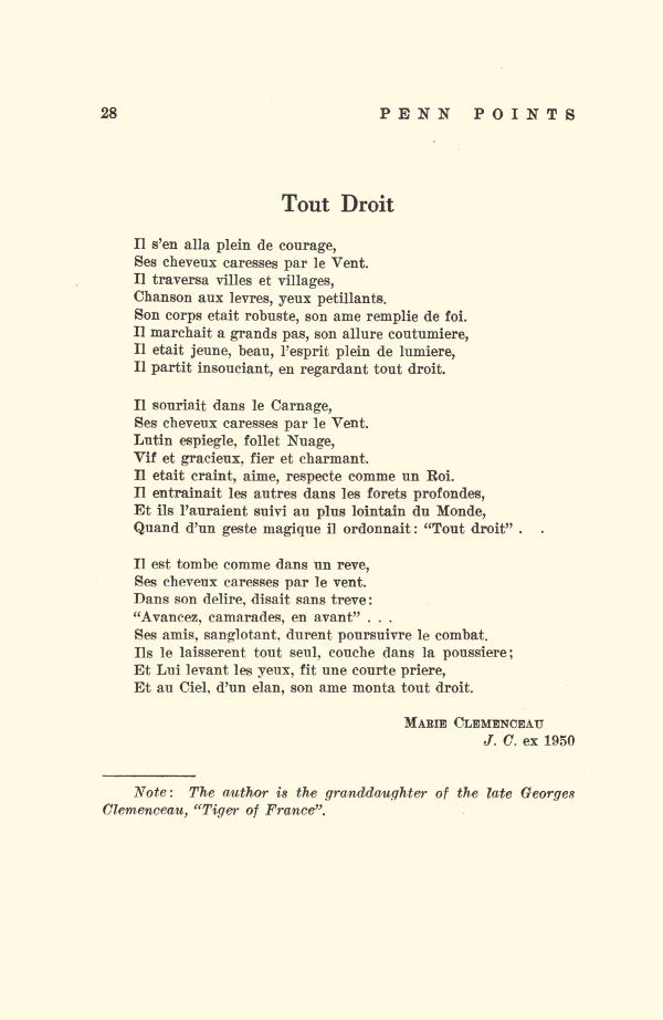 "Marie Clemenceau ""Tout Droit"" in Penn Points n°1, Vol. XXXI, d'avril 1956."
