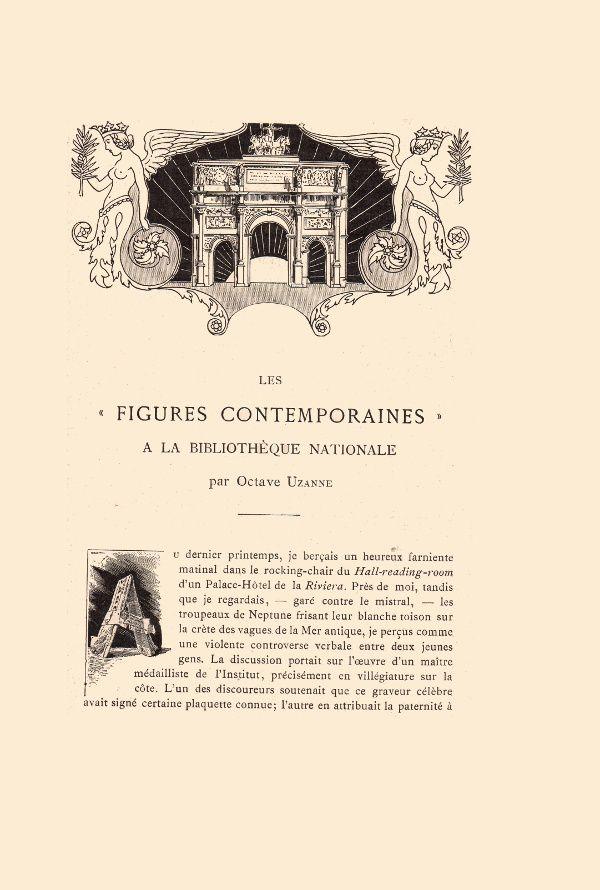 Octave Uzanne – Les « Figures Contemporaines » à la Bibliothèque Nationale in Album Mariani T. XII (1910)