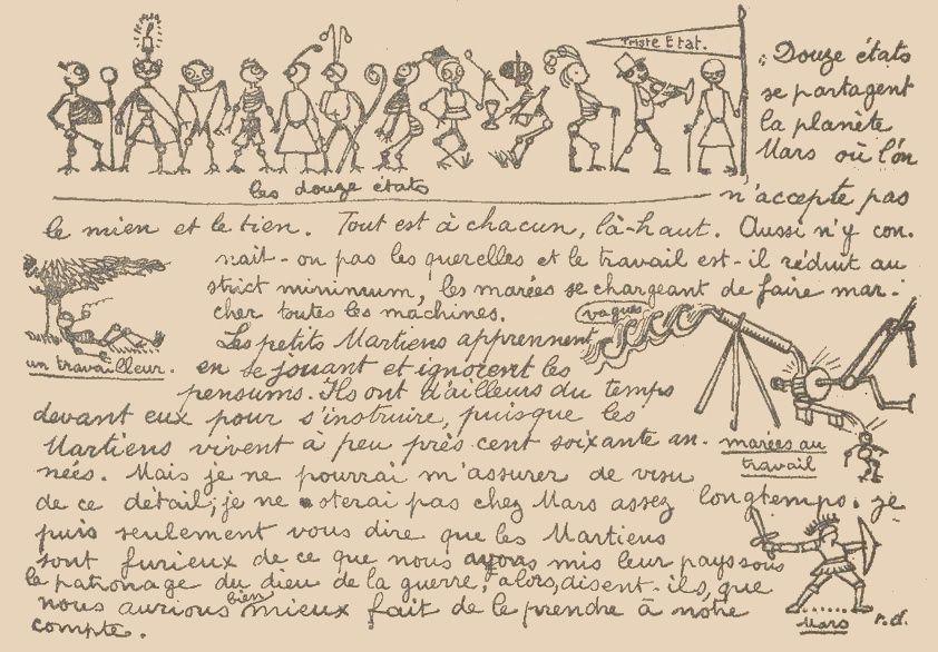"""Raphael Diligent (r. d.) """"Une excursion en Mars"""" in Floréal n°36 du 8 septembre 1923."""