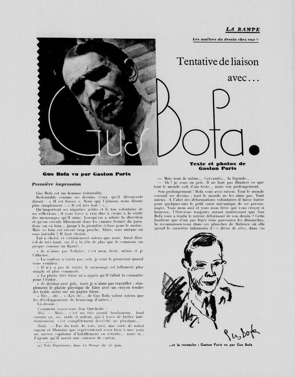 Gaston Paris - Les Maîtres du dessin chez eux : Gus Bofa in La Rampe n°564 du 1er juillet 1932.