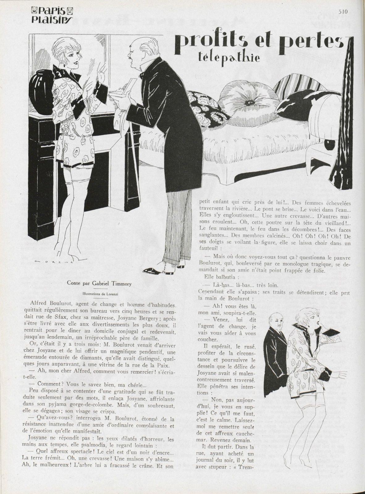 Gabriel Timmory - Télépathie in Paris-plaisirs n°35 de mai 1925.