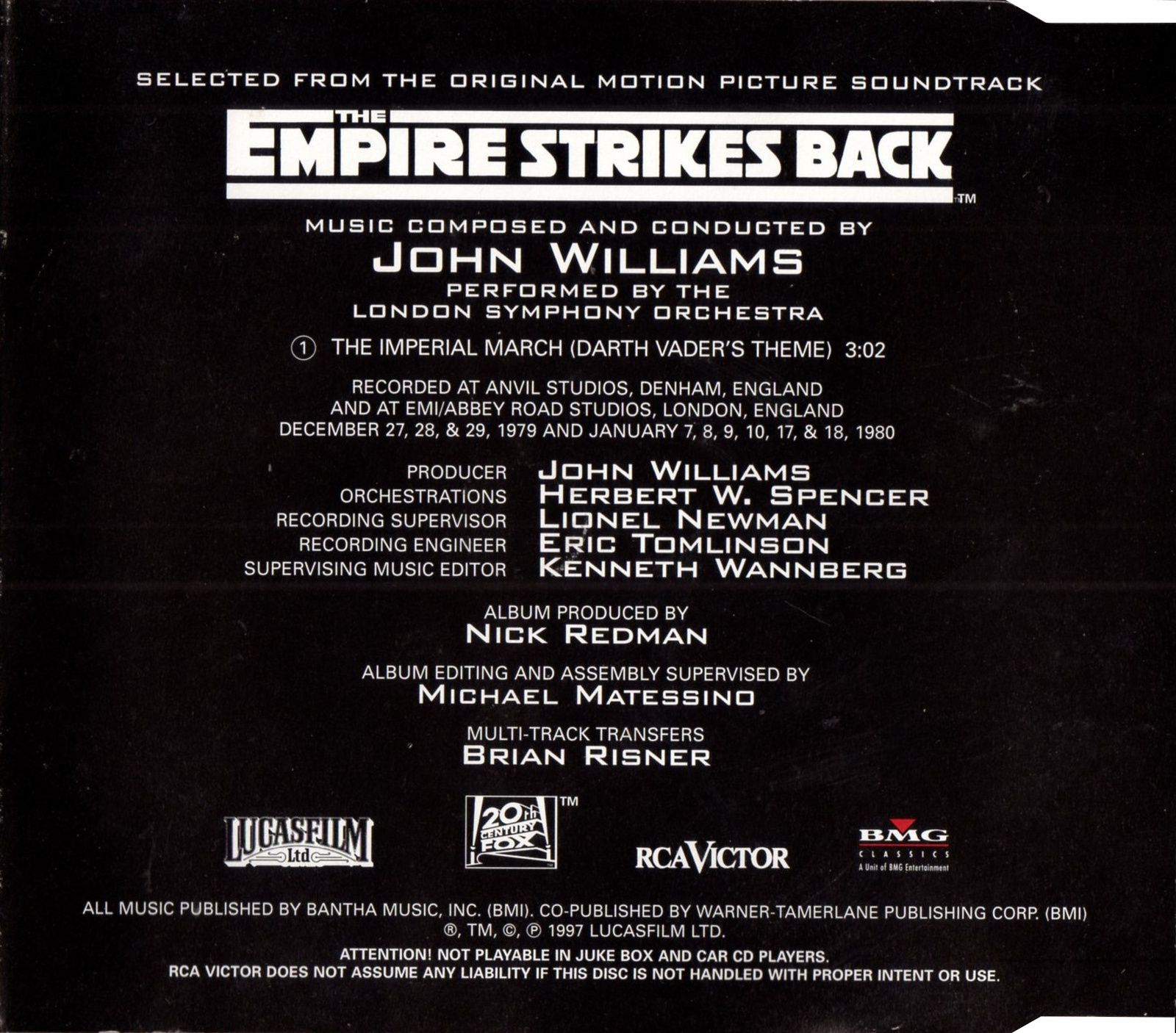 John Williams - The Imperial March - Darth Vader's Theme mCD (BMG - 1997)