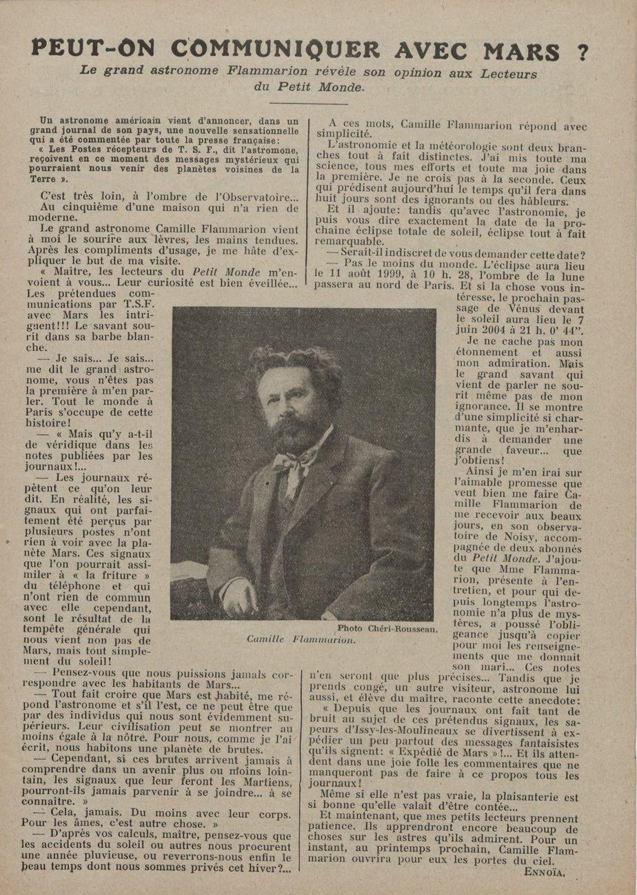 Peut-on communiquer avec Mars ? Le grand astronome Flammarion révèle son opinion aux Lecteurs du Petit Monde in Le Petit monde n°10 du 15 février 1920.