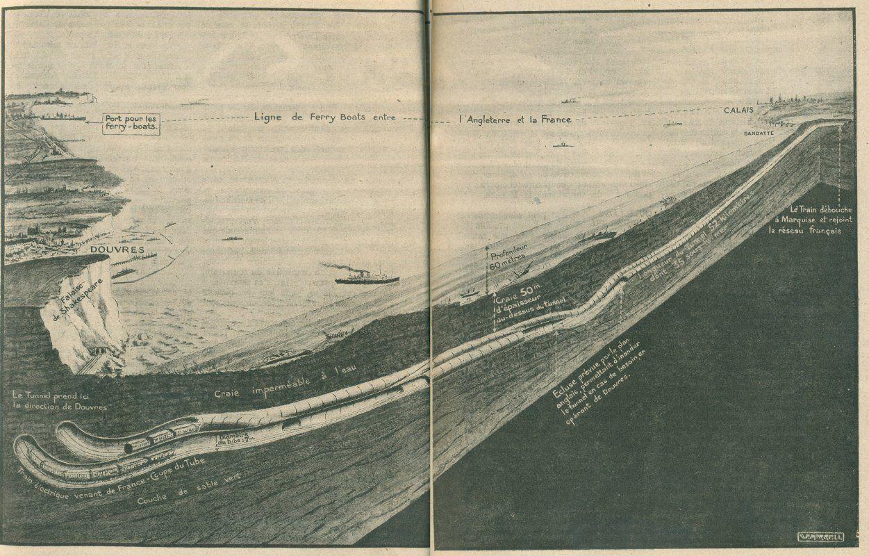 Le tunnel sous La Manche illustré dans Lectures pour Tous en juin 1919