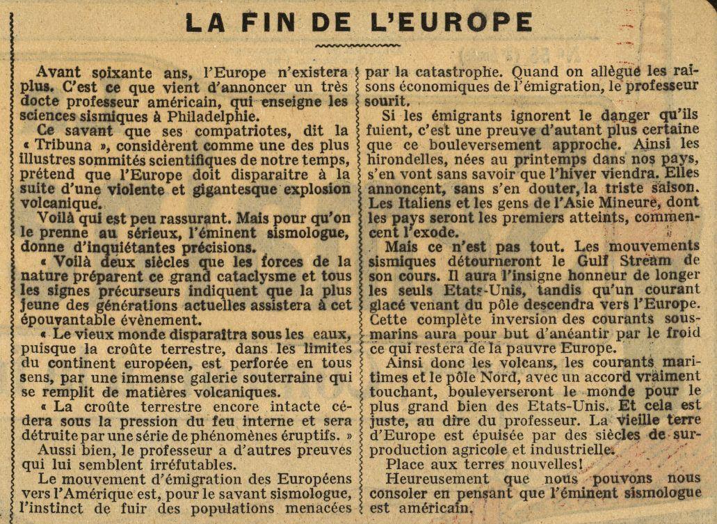 Anonyme - La Fin de l'Europe (1912)
