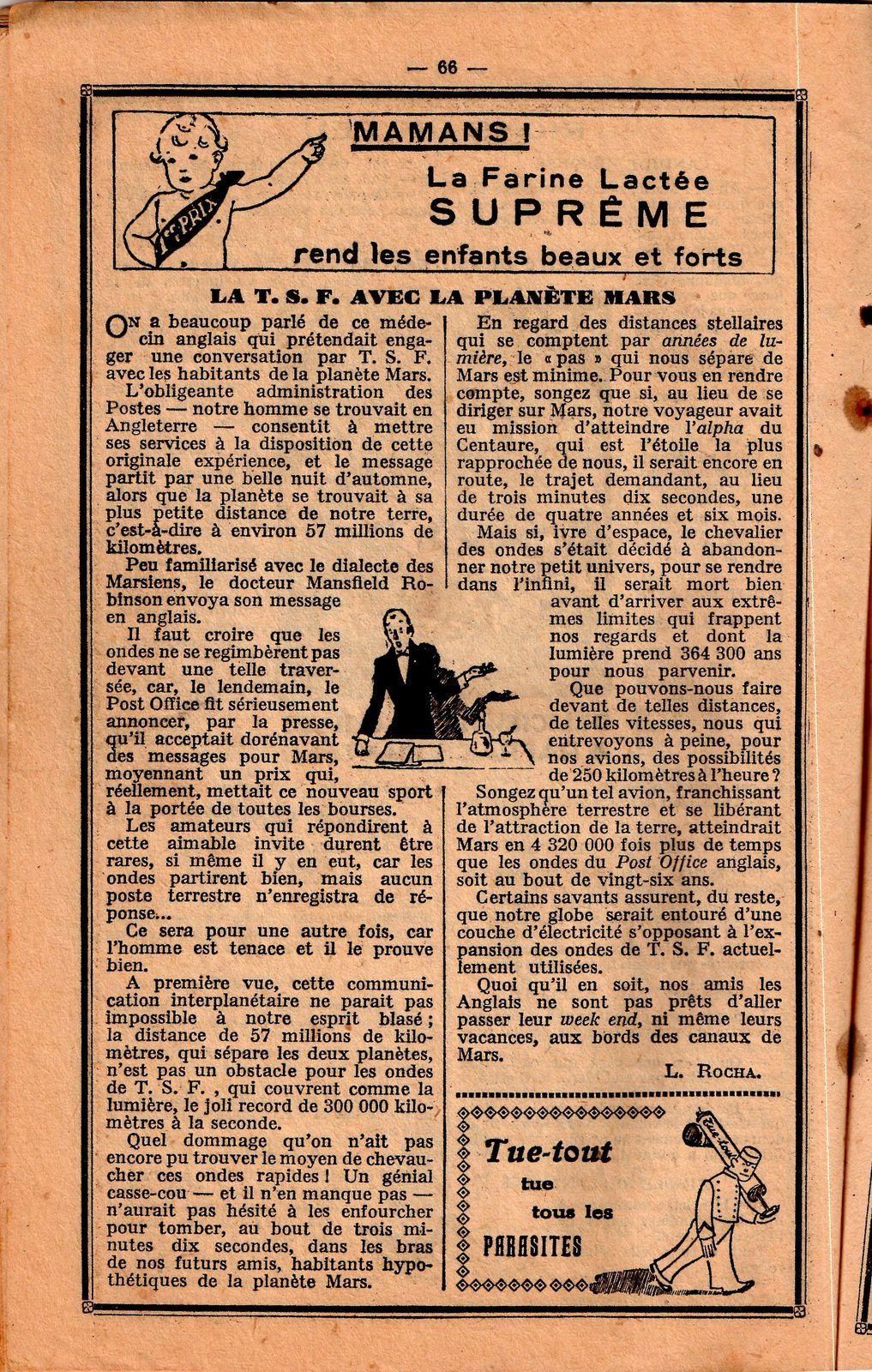 L. Rocha - La T.S.F. avec la Planète Mars (1933)