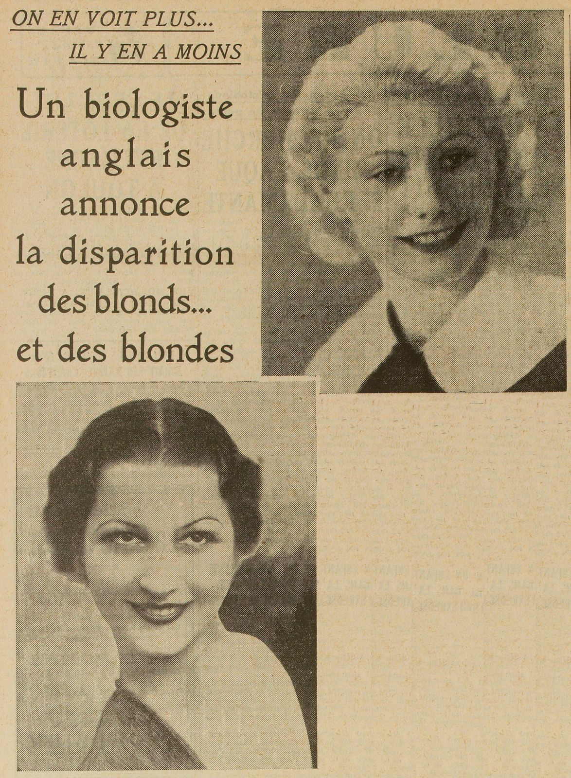 Roger Simonet - La Disparition des blonds… et des blondes (1937)