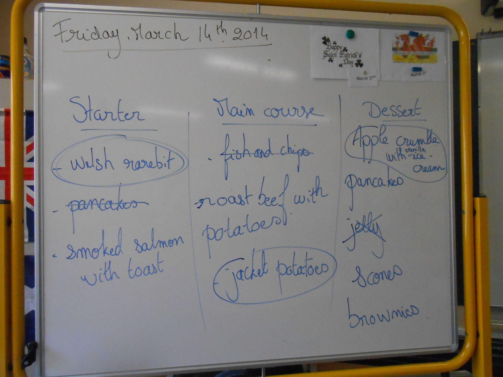 English menu at school!
