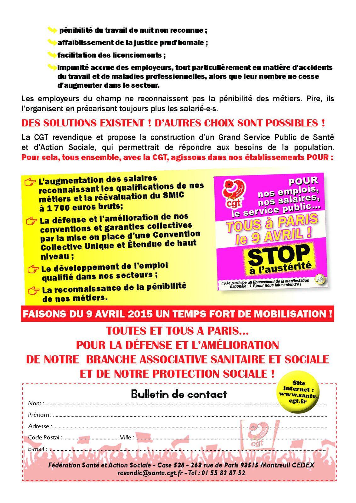 LE 09 AVRIL AGISSONS POUR L'EMPLOI ET LES SALAIRES!