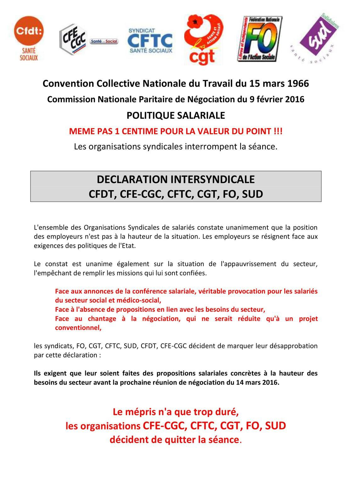 DÉCLARATION INTERSYNDICALE CFDT, CFE-CGC, CFTC, CGT, FO, SUD