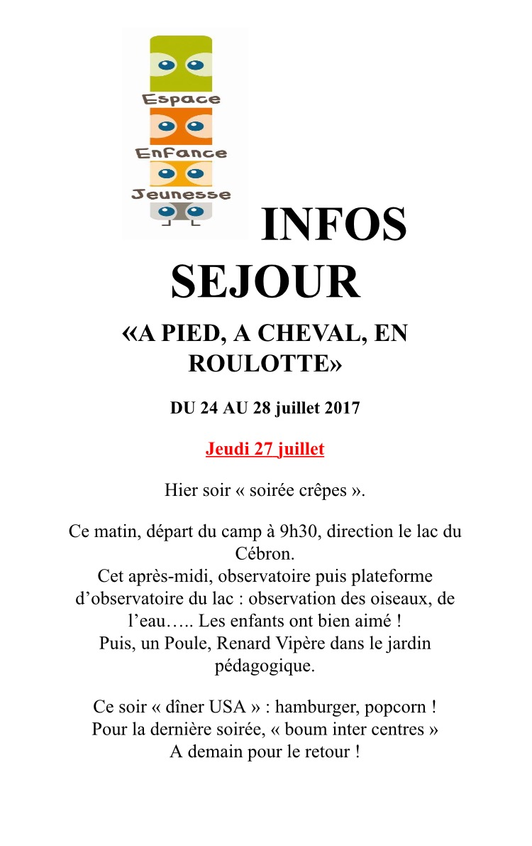27/07 -  Info camp