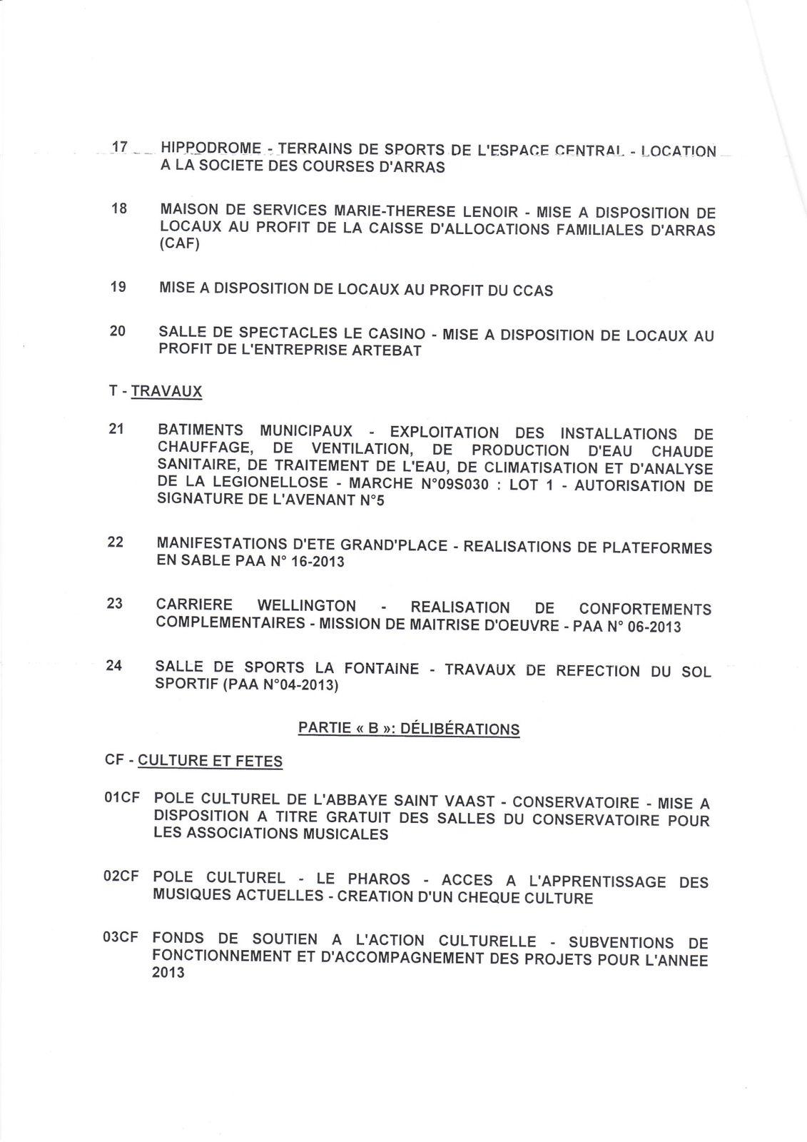 Conseil Municipal 1er juillet 2013