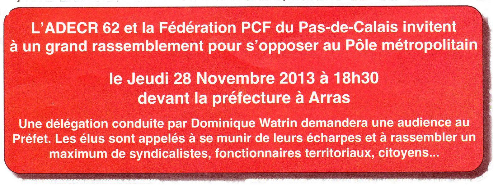 Rassemblement ce jeudi devant la préfecture à Arras