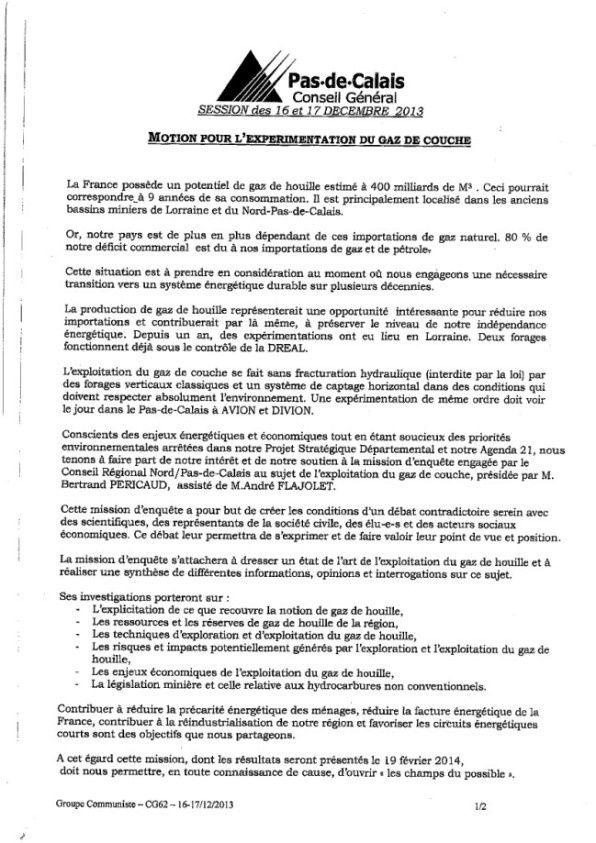 Conseil Général : la motion des élus communistes sur l'expérimentation du gaz de couche adoptée