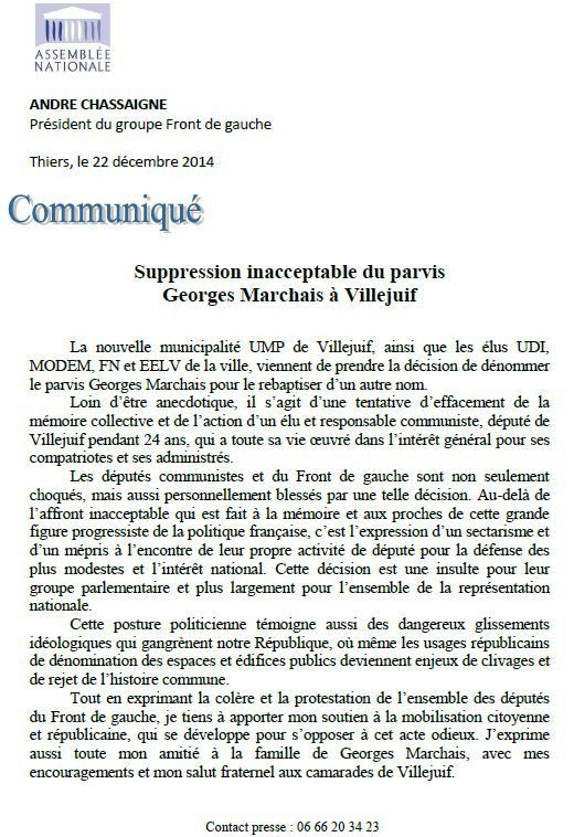 Suppression inacceptable du parvis Georges Marchais à Villejuif