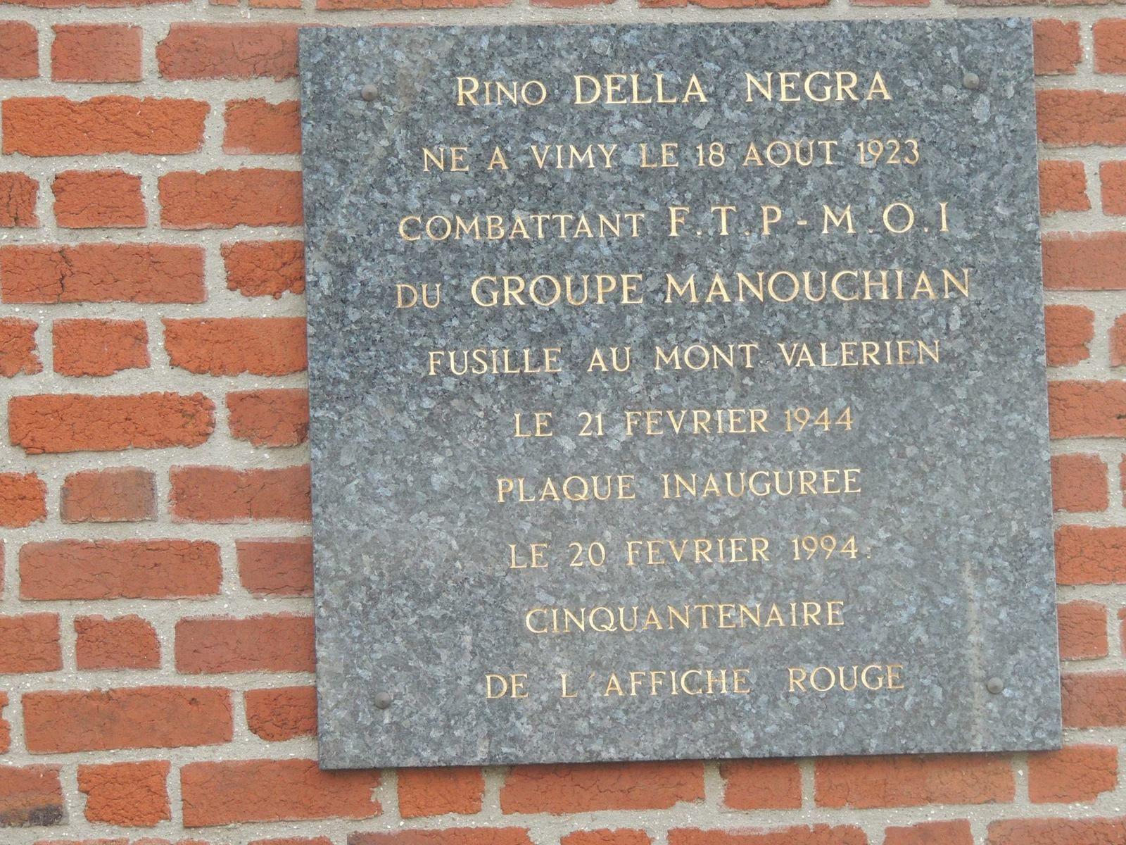 Hommage à Rino Della Negra à Vimy