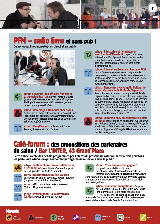 ARRAS:  Programme du 14e Salon du Livre le 1er mai 2015, organisé par Colères Du Présent