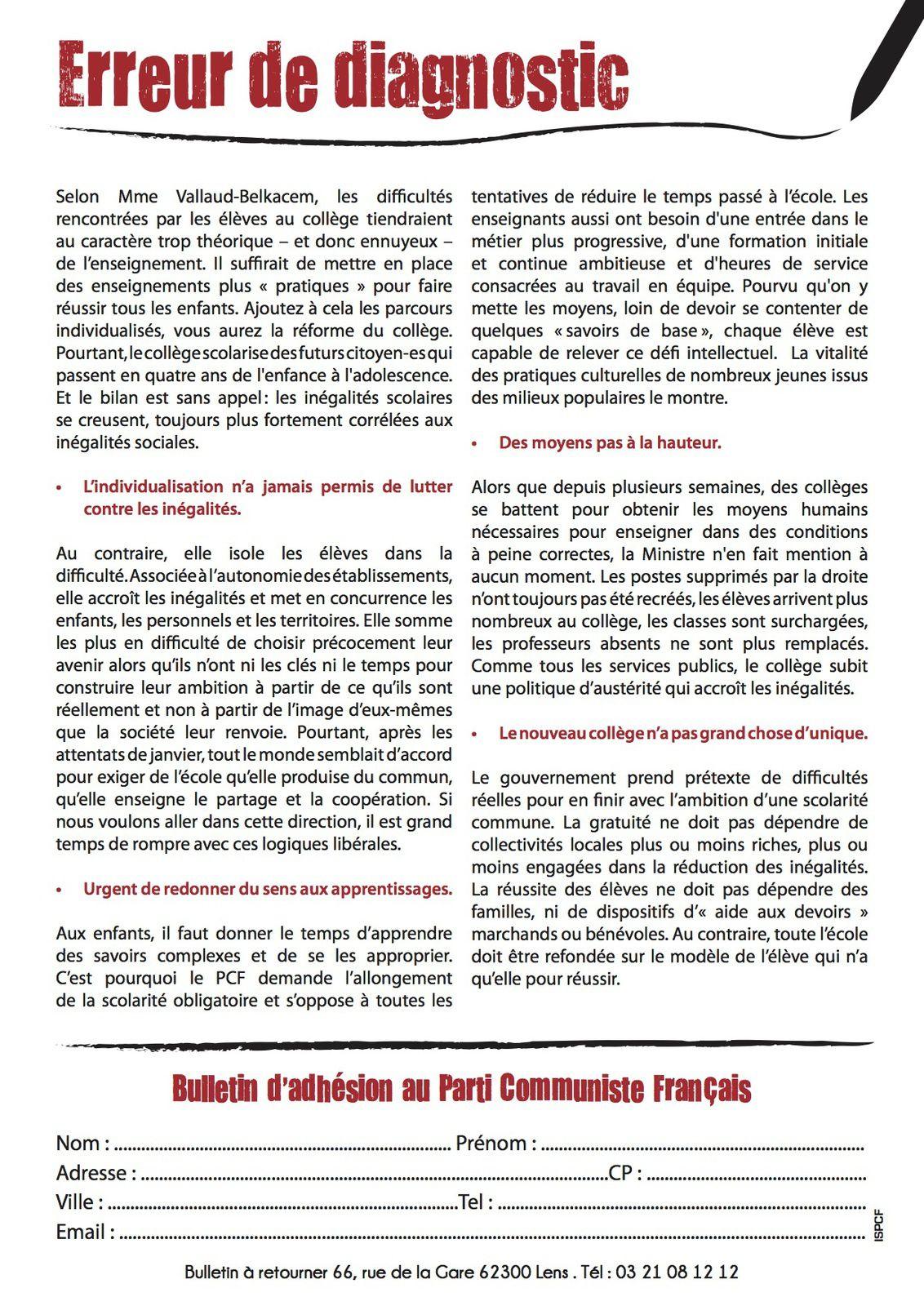 Réforme du collège : le tract du PCF 62