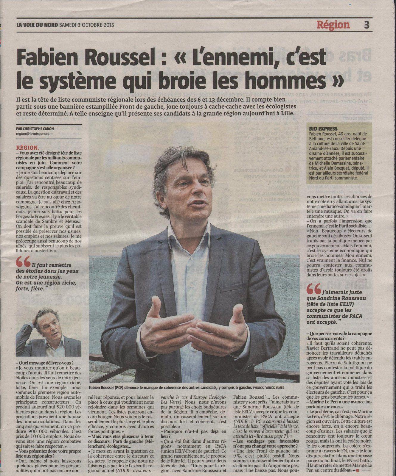 Régionales: Fabien Roussel: «L'ennemi, c'est le système qui broie les hommes»