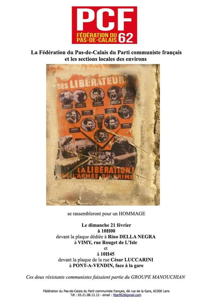 PCF Arras: A Vimy et Pont-à-Vendin, hommage aux martyrs du groupe Manouchian