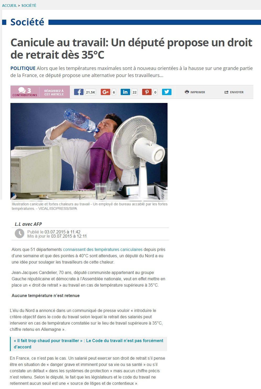 Canicule : le député Communiste nordiste, Jean-Jacques Candelier propose un droit de retrait au travail à partir de 35°C