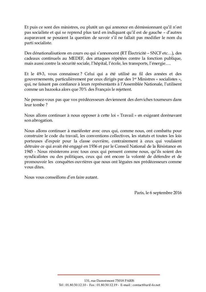 RÉPONSE cinglante de FO Ile-de-France au premier secrétaire du PS, A propos de la venue de Jean-Claude Mailly à la fête de l'Humanité,