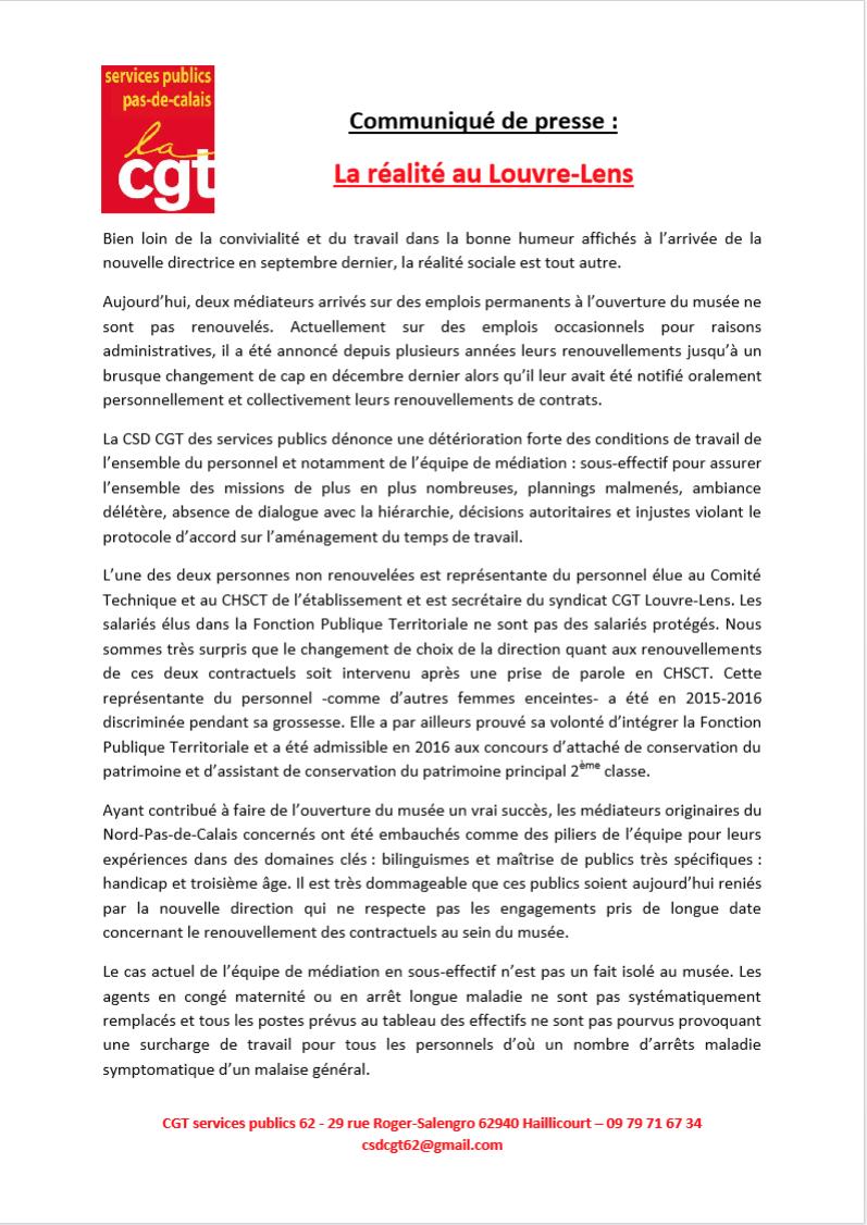 La direction du Louvre-Lens abhorre l'élue  CGT
