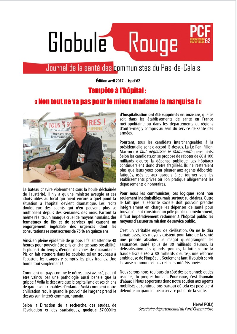 Globule Rouge: Journal de la santé des communistes du Pas de Calais