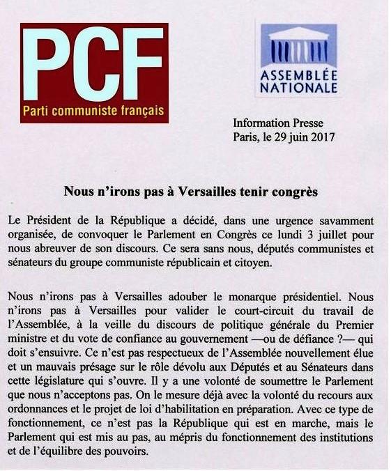 PCF. Nous n'irons pas à Versailles tenir congrès