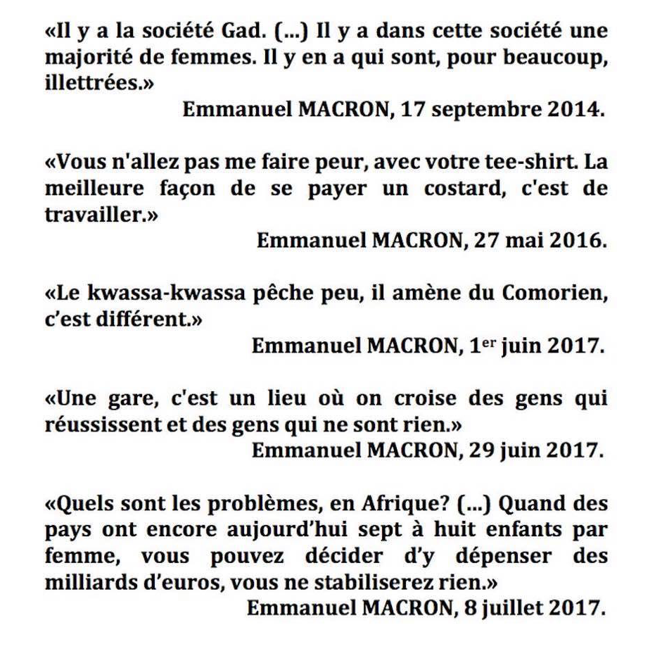 MACRON : le mépris du peuple (citations)