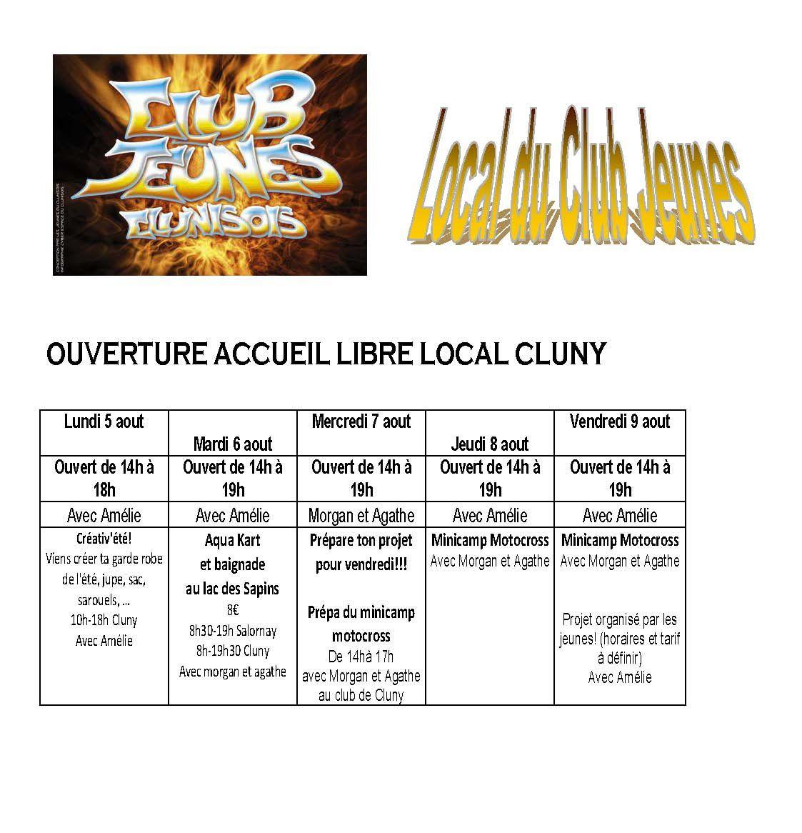 planning Cluny et Salornay du 5 au 9 août