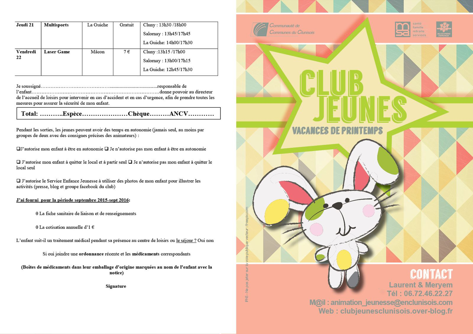 Vacances Printemps 2016