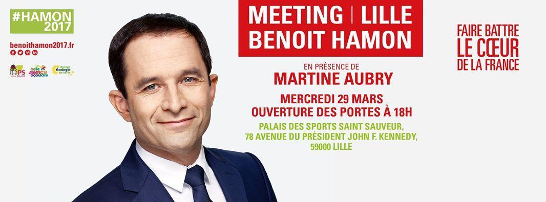Meeting de Benoît Hamon à Lille avec Martine Aubry