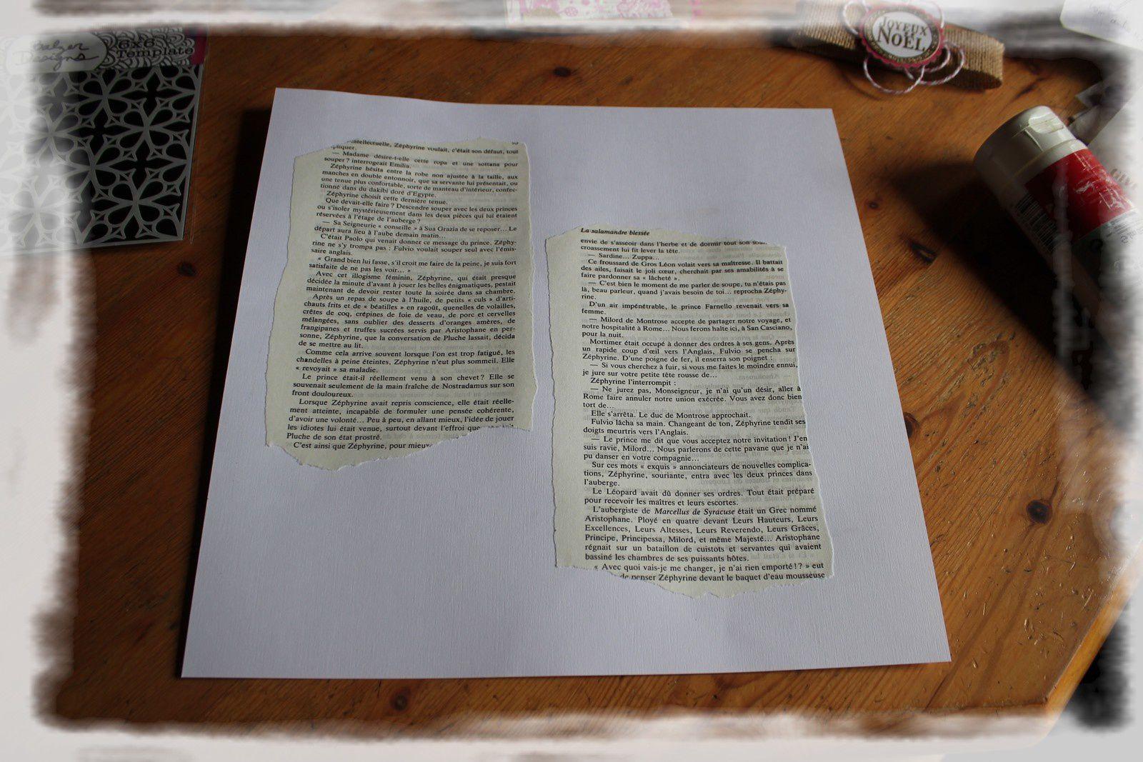 1ère étape le collage des pages de livre