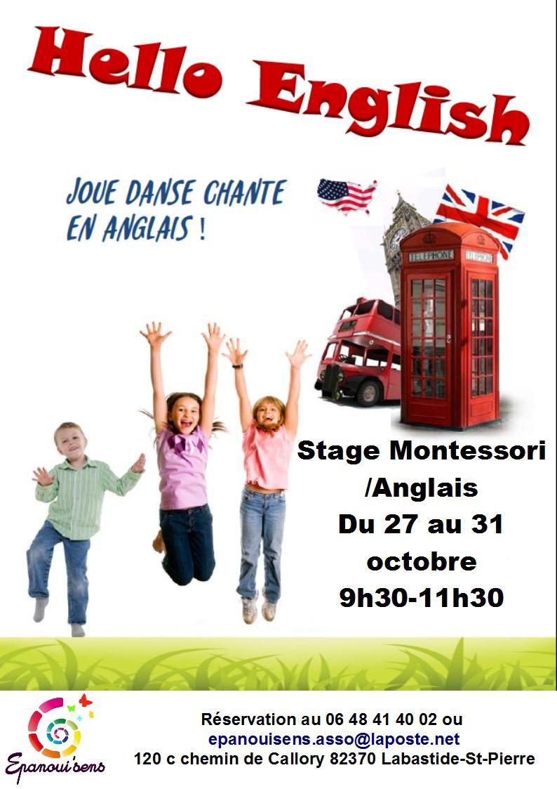 Stage enfants Montessori Anglais vacances octobre