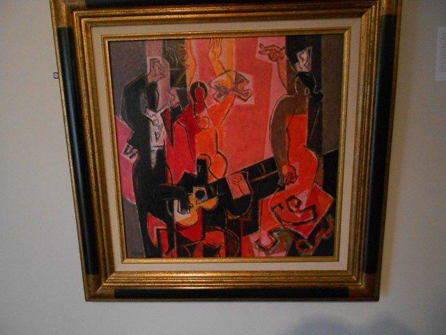 Pierre Loeb devant une toile de Marcel Mouly. Flamenco de Pierre Loeb