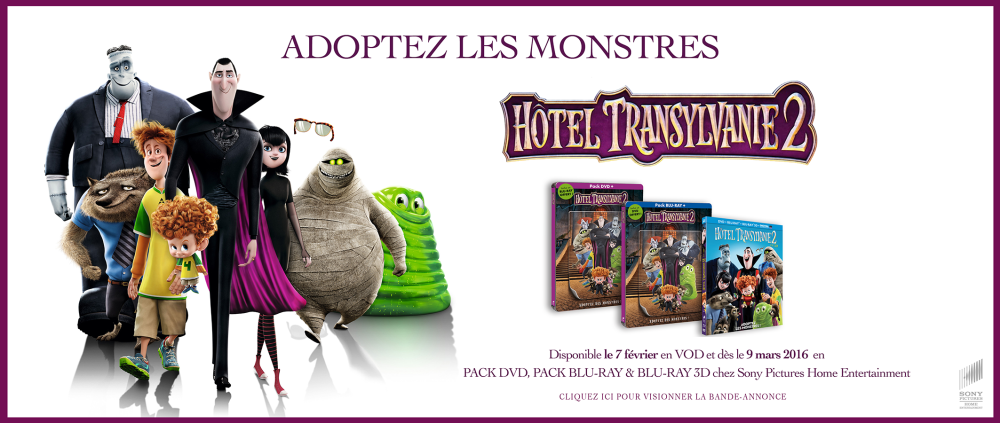 HOTEL TRANSYLVANIE 2 en DVD, BLU-RAY et BLU-RAY 3D le 9 mars 2016 chez Sony Pictures Home Entertainment