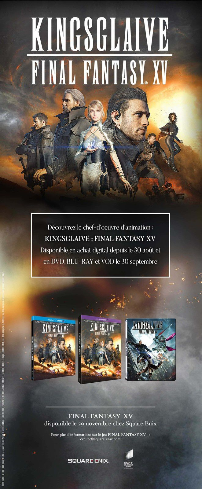 KINGSGLAIVE - FINAL FANTASY XV (BANDE ANNONCE) disponible en DVD, BLU- RAY et VOD le 30 septembre 2016 chez Sony