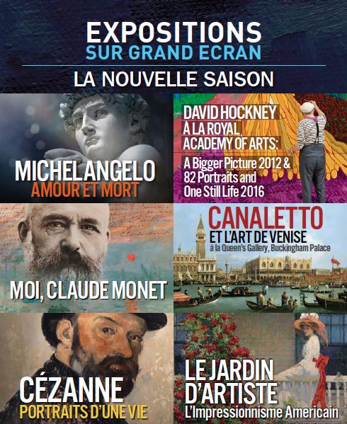 EXPOSITIONS SUR GRAND ECRAN - La nouvelle saison bientôt en France - Octobre 2017 - Juin 2018