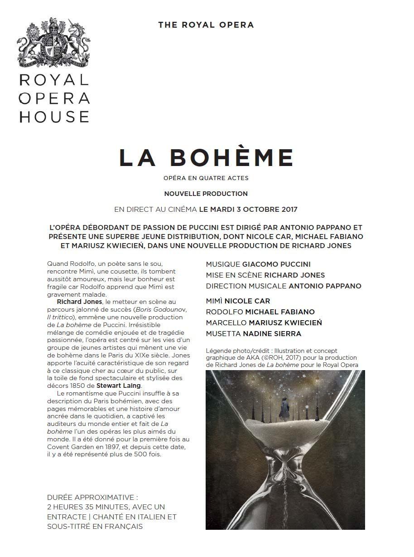 LA BOHÈME, le Mardi 3 Octobre 2017 au cinéma, en direct du Royal Opéra House