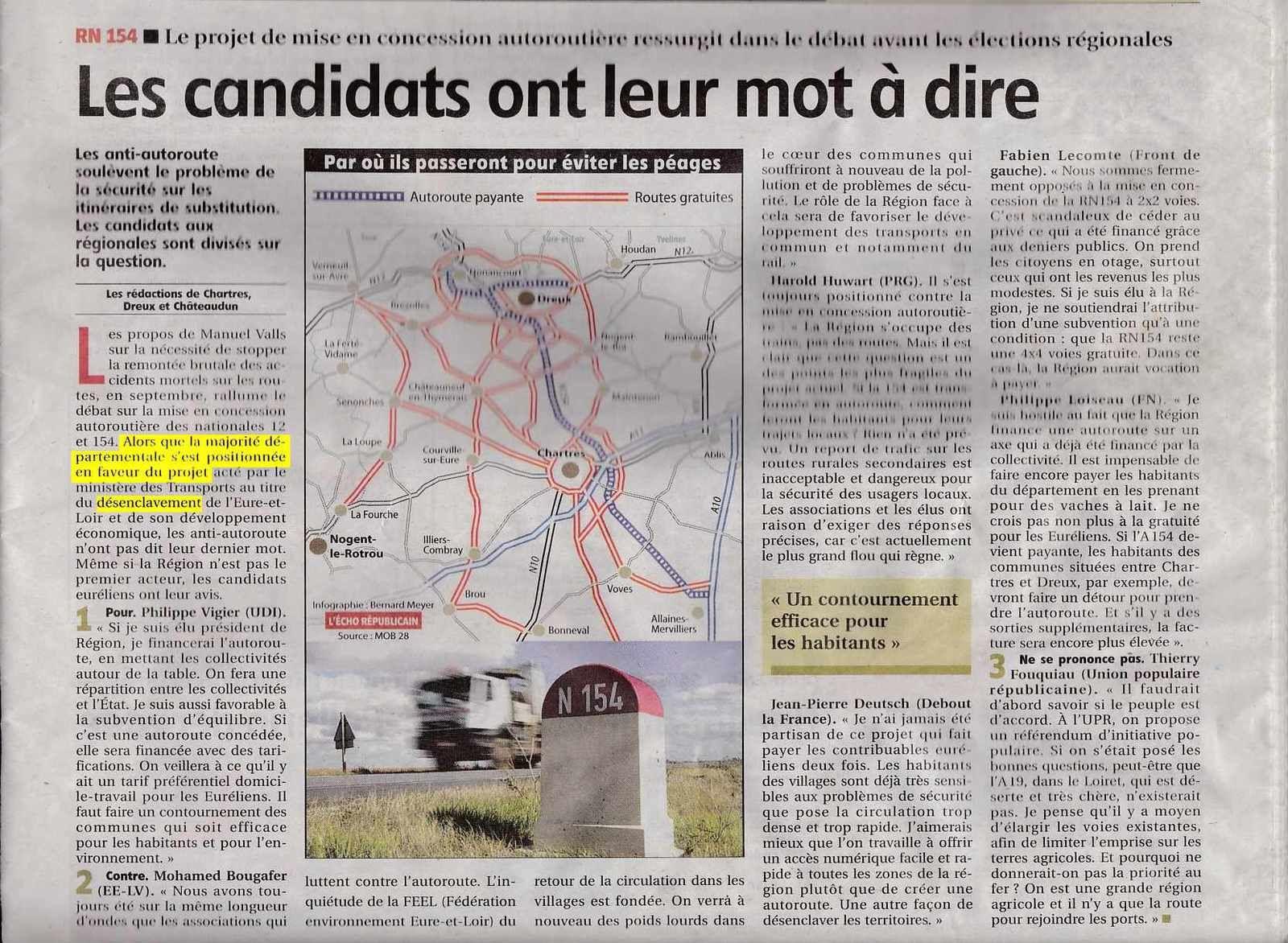 Régionales : une seule liste pour le projet d'autoroute