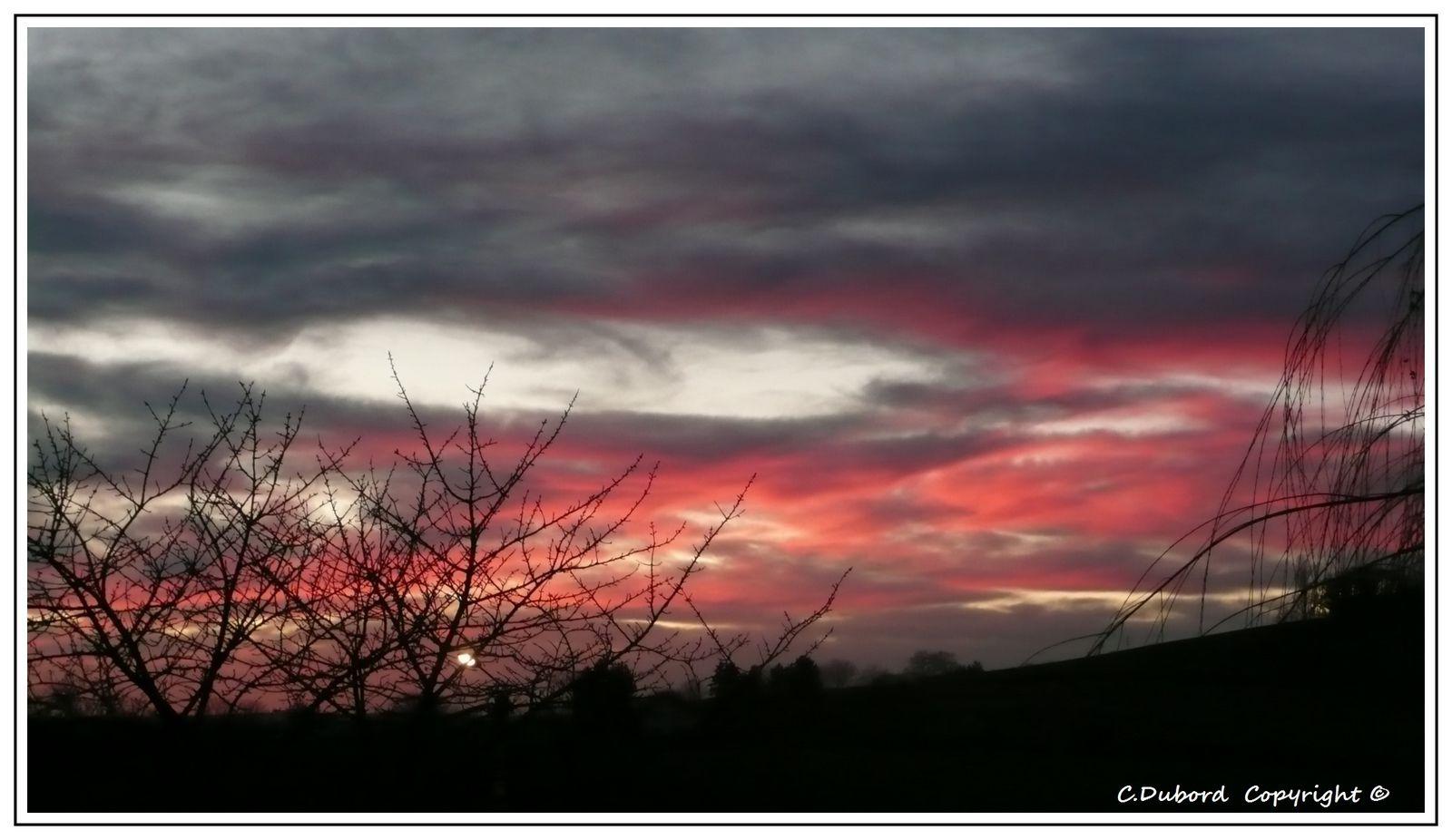 Coucher de soleil sur Cusset en décembre 2012