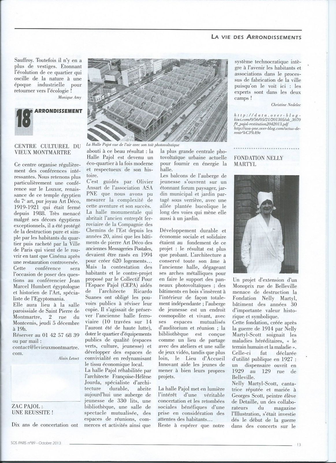 Pajol : article de SOS PARIS dans le bulletin d'octobre 2013