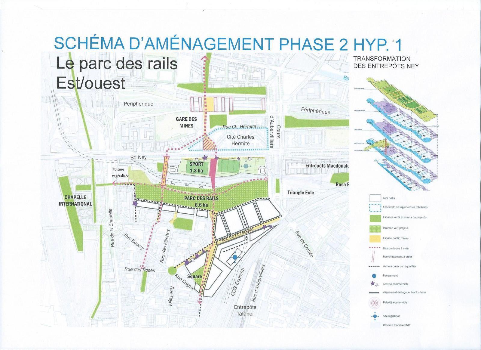 """Chapelle Charbon : schéma d'aménagement de la 2ème phase du """"parc des rails""""  -  François Leclercq urbanistes"""