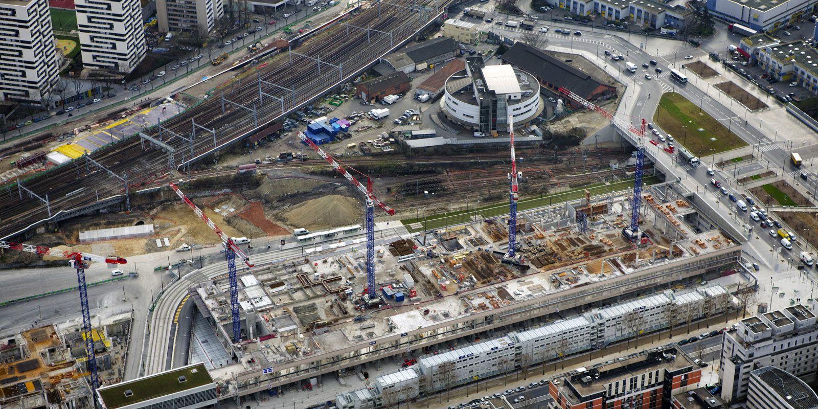 Triangle Eole-Evangile : vue aérienne de l'emprise pendant les travaux de la gare Rosa Parks