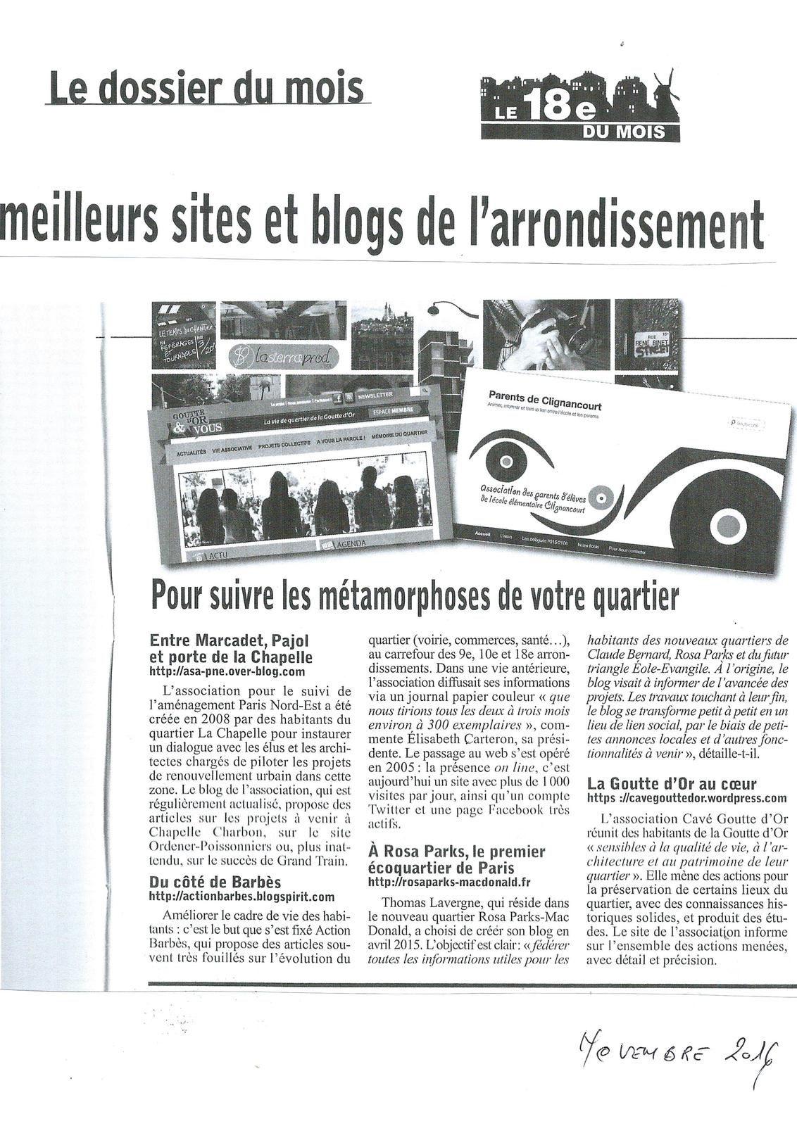Le 18e du mois : extrait de l'article consacré aux sites et blogs de l'arrondissement réalisé par Florianne Finet et Sophie Roux - Novembre 2016.